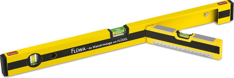 Flüwa Wasserwaage mit Flügel 60cm, Schwarz/Gelb