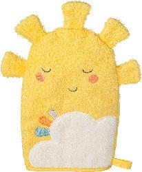 PUSBLU Waschhandschuh Sonne, gelb