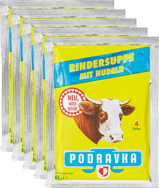 Zuppa di manzo Podravka, con pastina, 5 x 65 g
