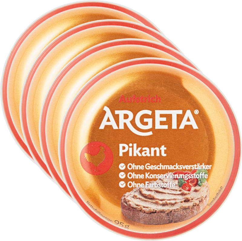 Argeta Aufstrich, Huhn pikant, 4 x 95 g