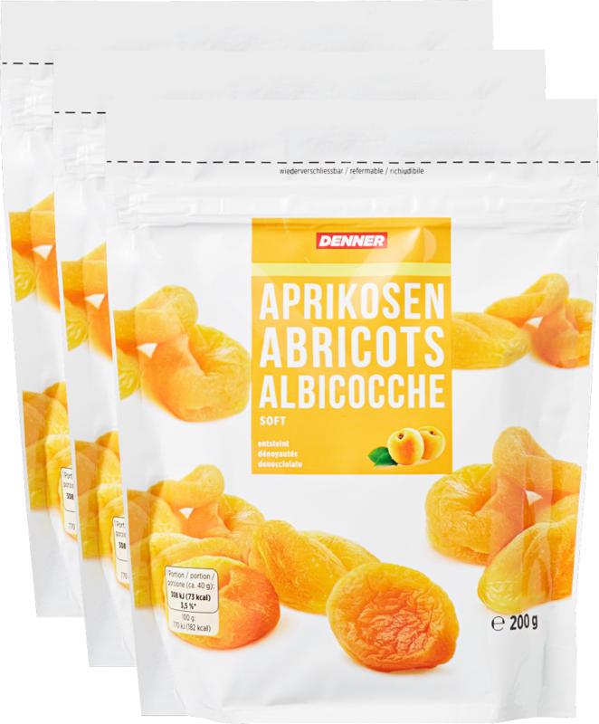 Abricots Denner, tendres, dénoyautés, 3 x 200 g