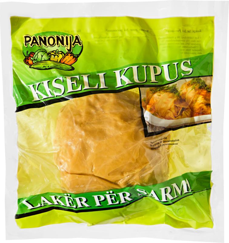 Feuilles de choucroute Kiseli Kupus Panonija, Provenance indiquée sur l'emballage, env. 1250 g, le kg