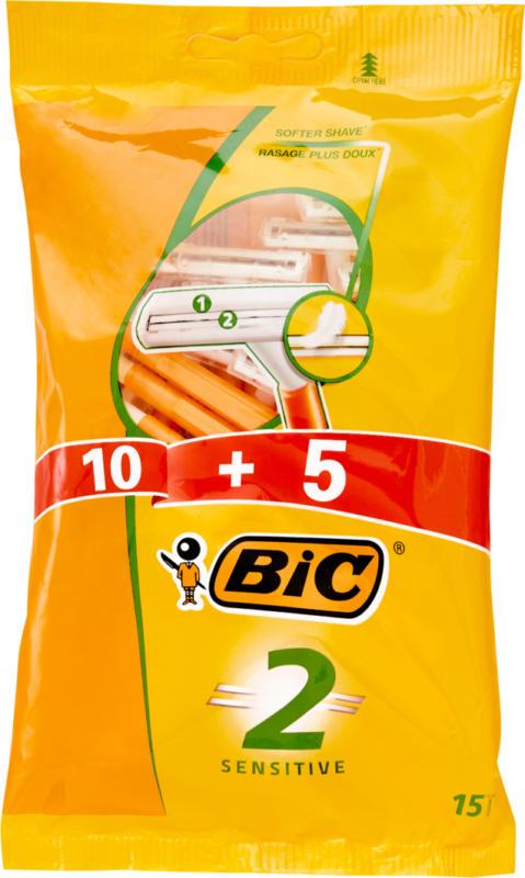BIC 2 Sensitive Klingenrasierer , 10 + 5 Stück