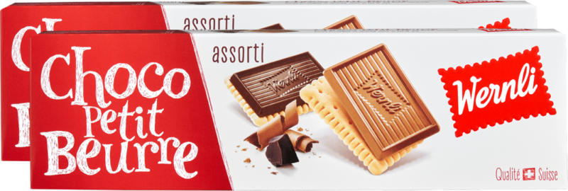 Biscuits Choco Petit Beurre Wernli, assortis, 2 x 125 g