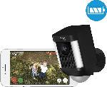 MediaMarkt Spotlight Cam (Akku) schwarz, kabellose HD-Überwachungskamera, Licht, Sirene, Bewegungsmelder