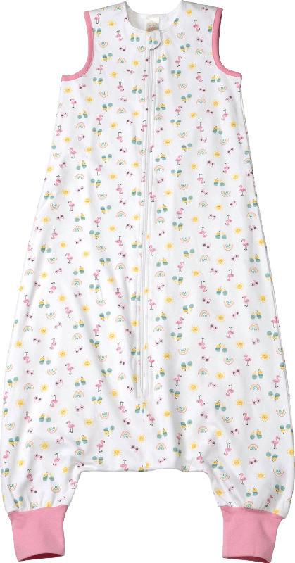 PUSBLU Kinder Schlafsack 0,5 TOG, 110 cm, in Bio-Baumwolle, weiß, rosa