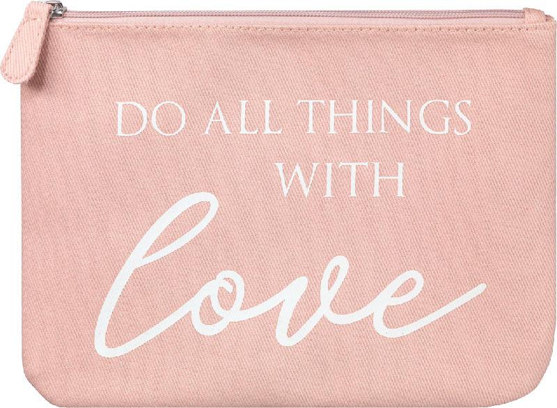 Dekorieren & Einrichten Schminktasche 'do all the things with love' rosa