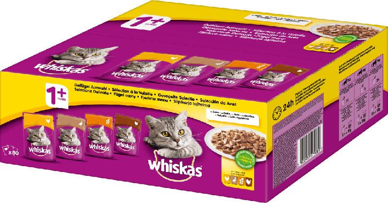 Whiskas Nassfutter für Katzen, Adult, Geflügelauswahl, Multipack (80 x 100g)