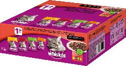 Whiskas Nassfutter für Katzen, Adult, klassische Auswahl, Multipack (80 x 100g)