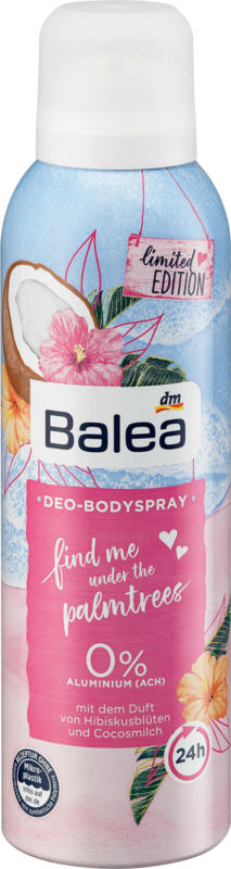 Balea Deospray find me under the palmtrees@
