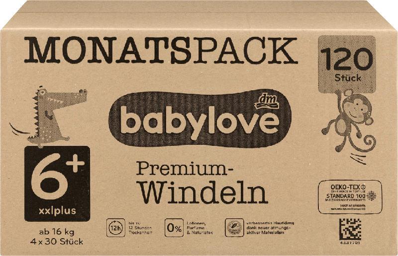babylove Windeln Premium Gr. 6+, XXLplus, 18+ kg, Monatspack