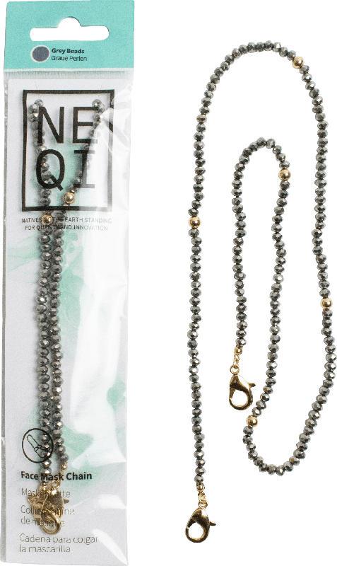 NEQI Maskenkette graue Perlen