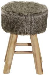 Hocker in Holz, Textil Naturfarben, Weiß