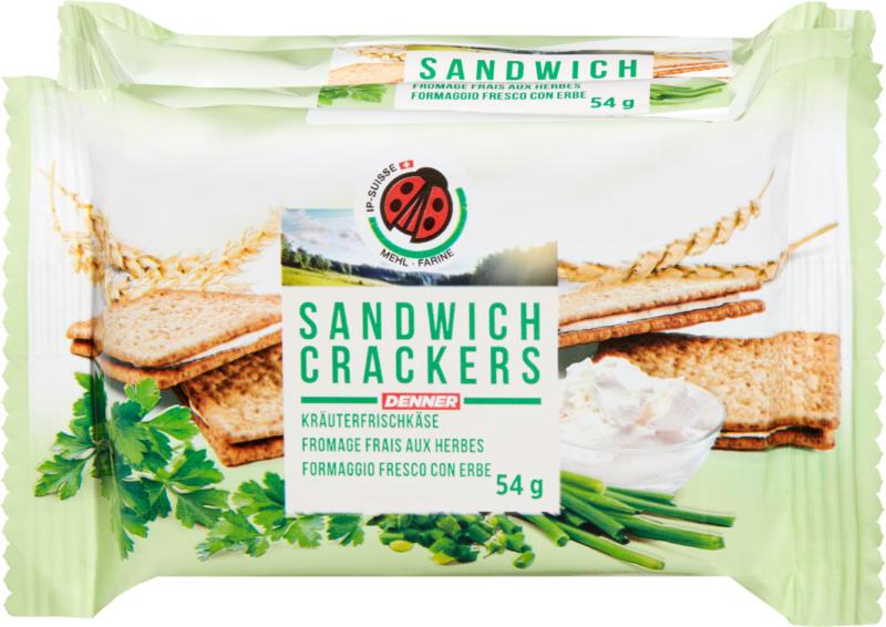 Sandwich Cracker IP-SUISSE, Fromage frais aux herbes, 4 x 54 g