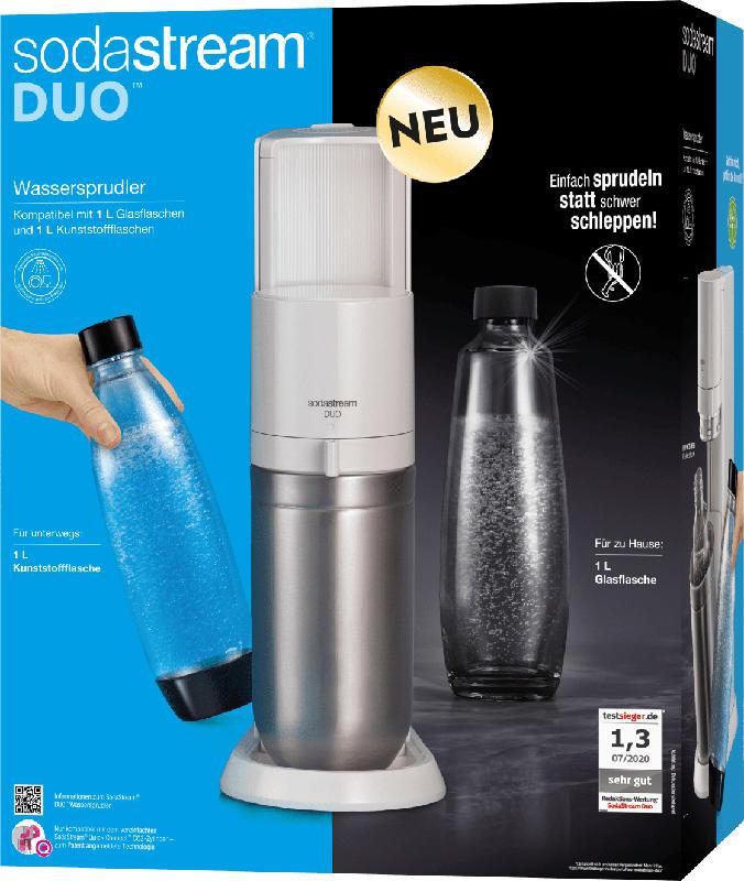 Sodastream Wassersprudler Set DUO weiß [1x Glasflasche 0,8L, 1x PET-Flasche 0,8L + Zylinder]