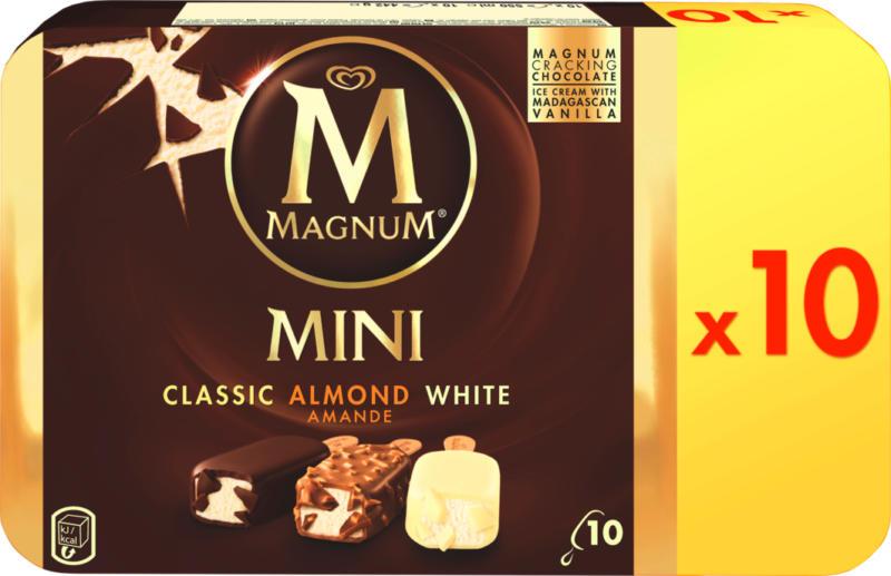 Magnum Glacé Mini, assortiert: Classic, Almond, White, 10 x 55 ml