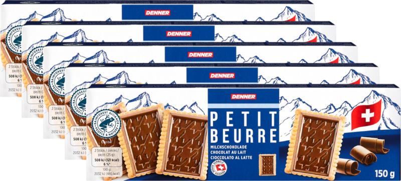 Biscotti Petit Beurre Cioccolato al latte Denner, 5 x 150 g