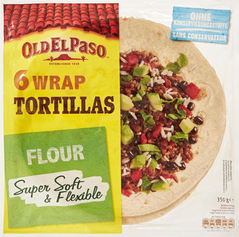 Tortilla wraps au blé complet Old El Paso, 350 g