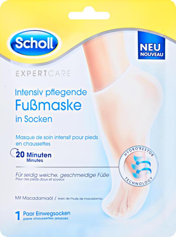 Masque de soin intensif pour pieds Expert Care Scholl, à l'huile de macadamia, chaussettes, 1 paire