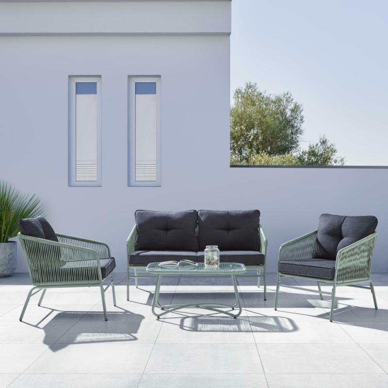 Loungegarnitur 'Paros' inkl. Auflagen & Kissen, grün/grau
