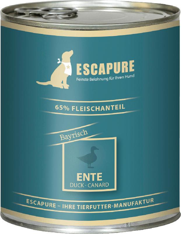 Escapure Nassfutter für Hunde, Ente Bayrisch, Adult