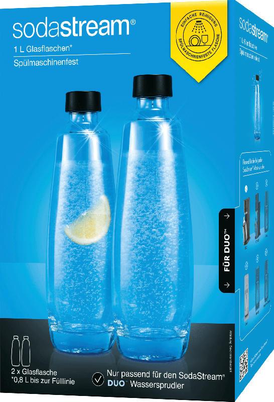 Sodastream Glasflasche DUO 0,8L für Wassersprudler, schwarz