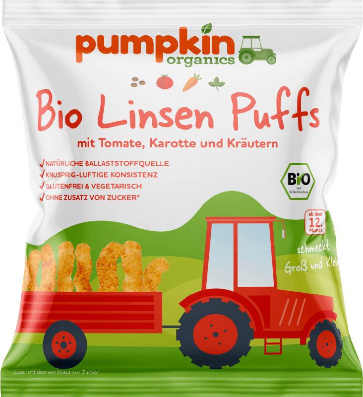 pumpkin organics Kindersnack Linsen Puffs mit Tomate, Karotte & Kräutern ab 1 Jahr