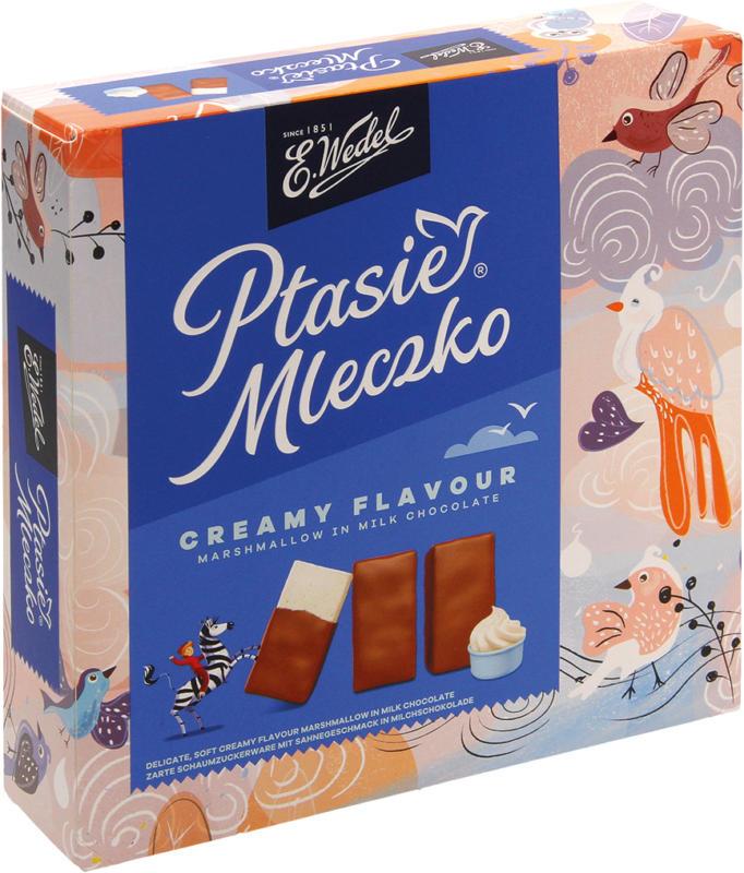 Schaumzuckerware mit Sahnegeschmack in Milchschokolade, mit Zuckerdekor