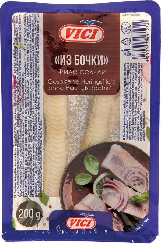 Gesalzene Heringsfilets (Clupea harengus) ohne Haut