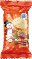 Eis mit Vanillegeschmack und Haselnüssen im Waffelbecher