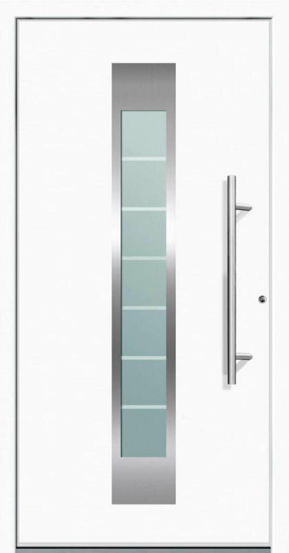 """Aluminium Sicherheits-Haustür """"Florenz Superior"""", 60mm, weiß, 100x210 cm, Anschlag rechts, inkl. Griffset rechts"""
