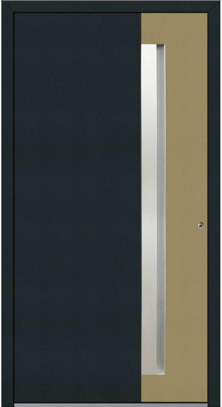 "Aluminium Sicherheits-Haustür ""Bologna Exklusiv"", 75 mm, anthrazit-beige, 100x210 cm, Anschlag rechts, inkl. Griffleiste rechts"