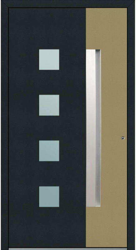 """Aluminium Sicherheits-Haustür """"Genua Exklusiv"""", 75 mm, anthrazit-beige, 100x210 cm, Anschlag rechts, inkl. Griffleiste rechts"""