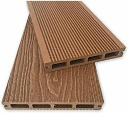Terrassendiele, WPC, braun, geriffelt, 200x14,5x2,3 cm