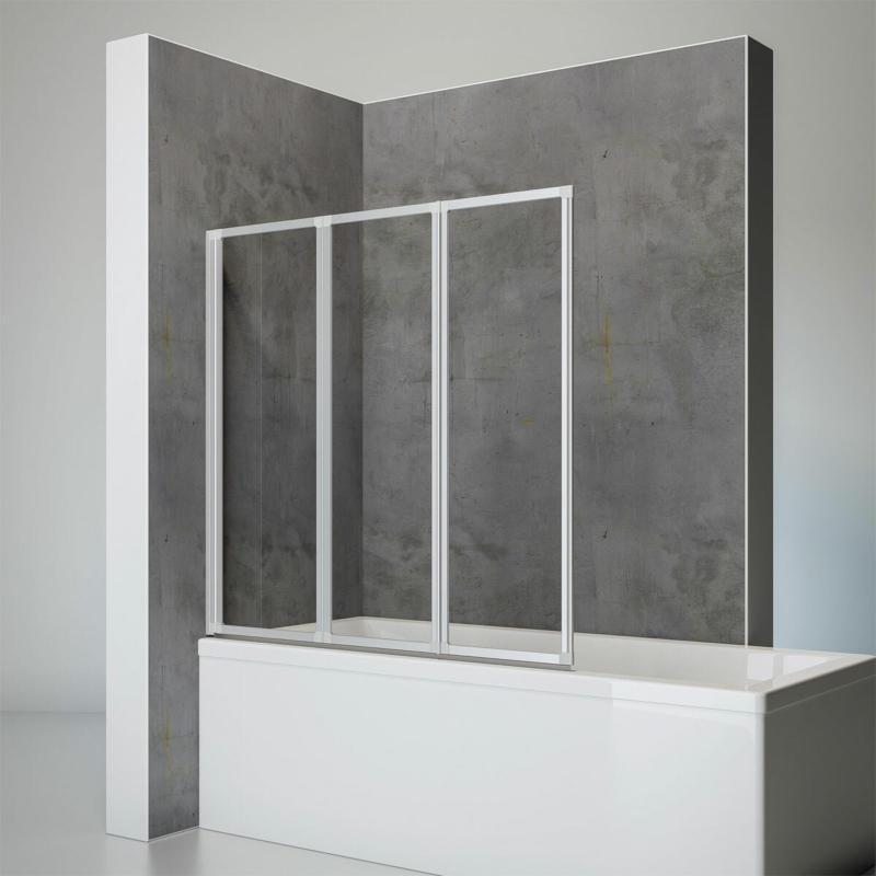 """Badewannenfaltwand """"Komfort"""", 140x127 cm,  Echtglas"""