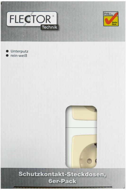 Steckdose, mit erhöhtem Berührungsschutz, creme, 6 Stück 6x Steckdose