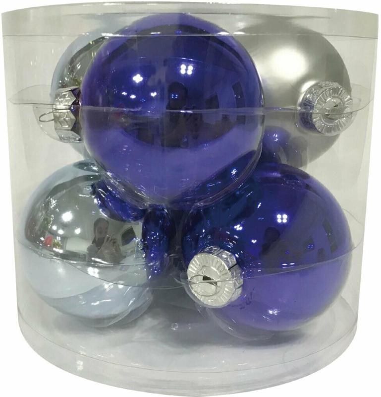 "Glaskugeln 8cm ""Finally Blue"", 6 Stk."