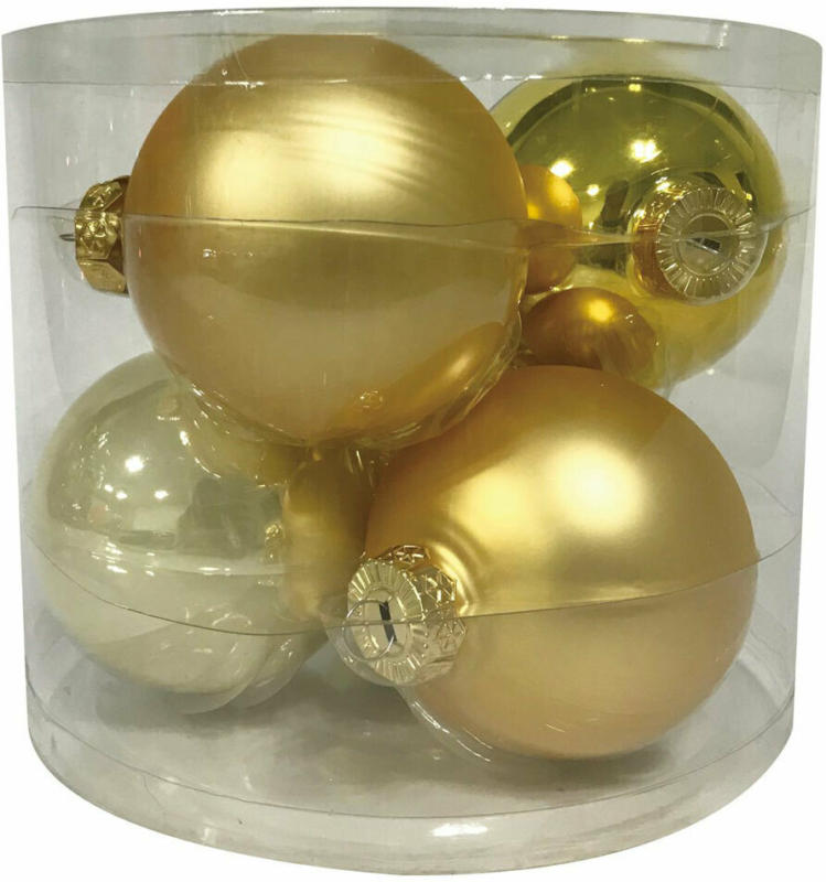 "Glaskugeln 8cm ""Gold Mix"", 6 Stk."