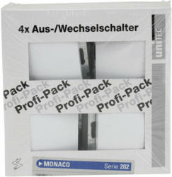 "PROFI-PACK-SET Aus-/Wechselschalter ""Monaco"", ultraweiß, 4 Stück, Serie 202"