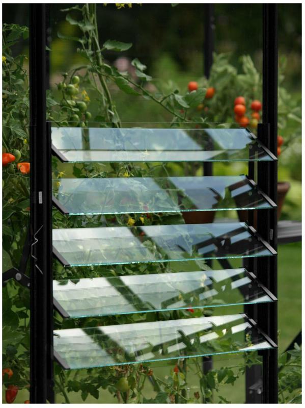 Lamellen-Wandfenster schwarz mit ESG