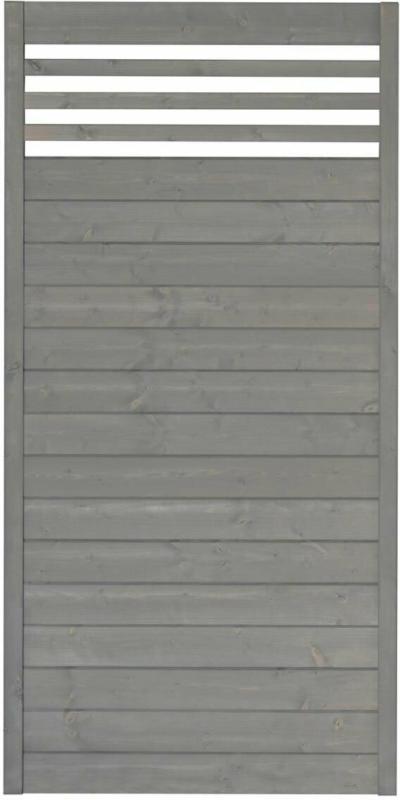 """Zaunserie """"Malmö"""", Grundelement, 90x180 cm, Fichte, basaltgrau lasiert"""