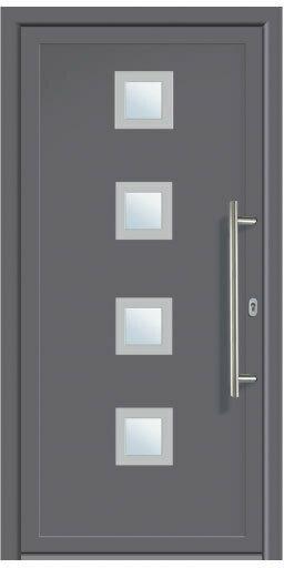 "Haustür Aluminium ""Modell 484"" titan, 98x200 cm rechts Außen: Titan, Innen: Weiß | rechts"