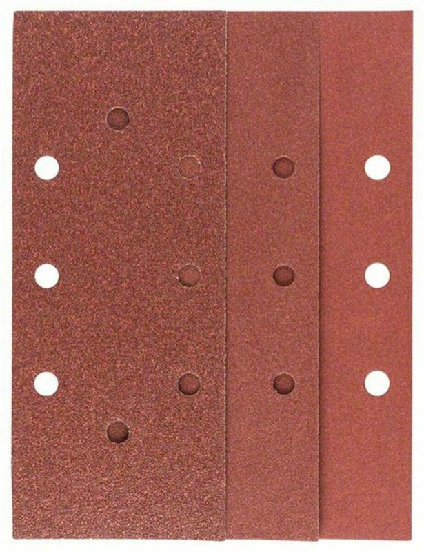 Schleifblatt 93x230 mm, 3xG60/ 4xG120/ 3xG180, gespannt, 10 Stück
