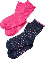 PUSBLU Doppelpack Socken, Gr. 23/26, in Baumwolle, Polyamid und Elasthan, blau, pink