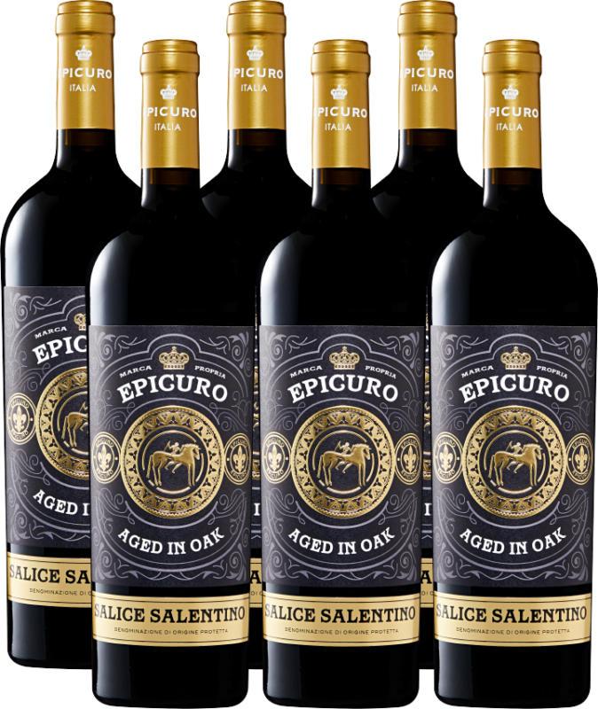 Epicuro Salice Salentino DOP Aged in Oak, 2019/2020, Apulien, Italien, 6 x 75 cl