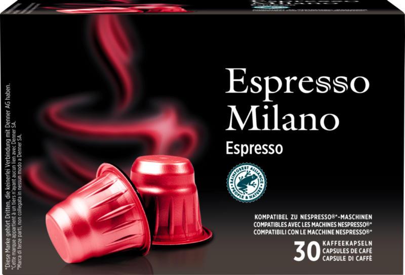 Capsules de café Espresso Milano Denner, Espresso, compatibles avec les machines Nespresso®, 30 capsules