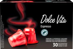 Capsule di caffè Dolce Vita Denner, Espresso, compatibili con le macchine Nespresso®, 30 capsule