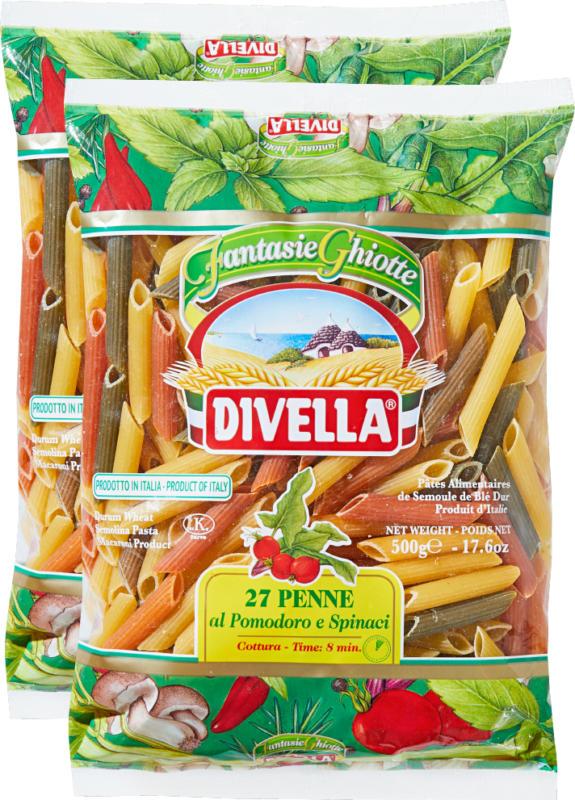 Penne al pomodoro e spinaci 27 Divella, al pomodoro e spinaci, 2 x 500 g