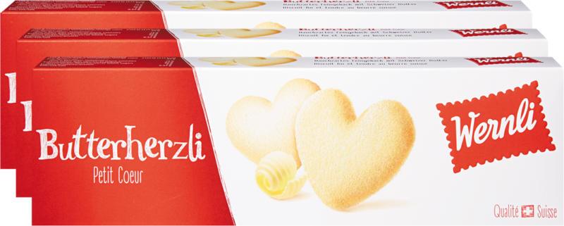 Wernli Biscuits Butterherzli, 3 x 100 g
