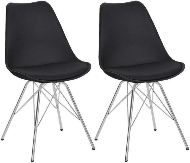 Stuhl-Set in Metall, Kunststoff Schwarz